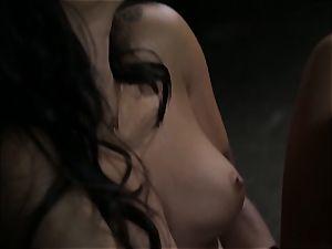 Asa Akira milks as she witnesses a nasty couple