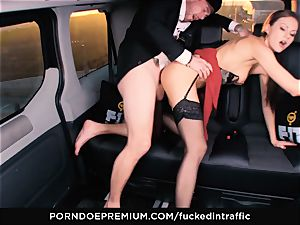 fucked IN TRAFFIC - Footjob and car intercourse with Tina Kay