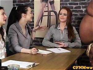 audition CFNM gal agent jacking black salami