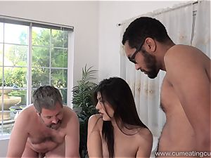 Audrey Royal and husband enjoy fat dark-hued fuck-stick inwards Her