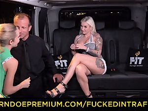 smashed IN TRAFFIC - passionate blondes car triangle plowing