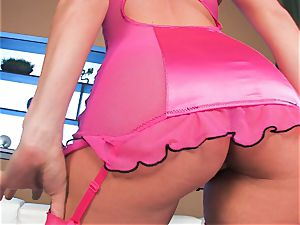 smallish titted Tori dark-hued with her bubble rump in underwear stockings