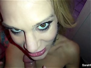 adult movie star Sarah Jessie gives a bj in the bathroom
