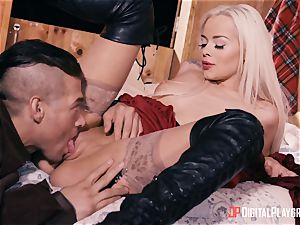 lil' crimson riding rubber hood Elsa Jean pounded pouch deep by hung hunter