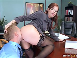red-haired boss Britney Amber pummels a insane employee