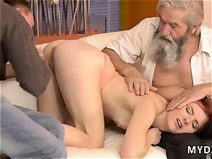 older grannie sudden experience with an elder gent
