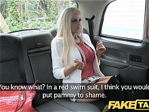 fake cab skinny blondie with smallish arse gets ass-fuck sex