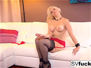 Sarah Vandella uses a giant toy in her taut snatch