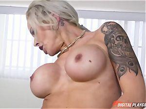 molten caboose platinum-blonde Nina Elle wedged in her minge