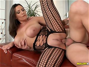 thick boobied sensual Jane pounds in fishnet