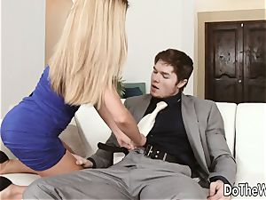 steamy blonde wifey Subil bend bangs in front of hubby