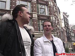 yam-sized jugged Amsterdam hooker gets jism showered