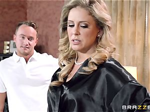 Cali Carter joins the rubdown fun with Cherie Deville