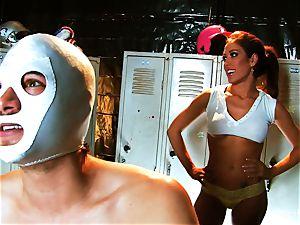 big-boobed brown-haired Capri plows an aspiring luchador