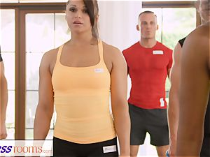FitnessRooms perspiring bosom in a apartment total yoga stunners