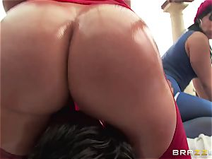 ass-fuck hook-up with three naughty enormous ass broads Krissy Lynn, Nikki Delano and Rose Monroe