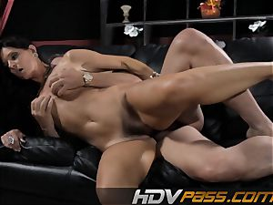 brown-haired honey India Summer boinks with enthusiasm in livingroom