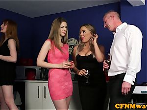 euro CFNM cougar shares her sub spouse
