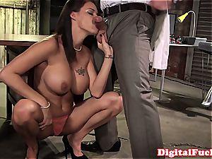 hefty funbag female nasty at work for a superb fuckpole inside