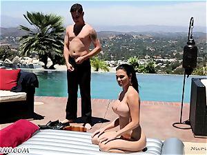 delightful buxom masseur Jasmine Jae gets dual titfucked