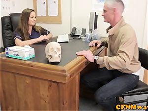 female dom Cayenne Klien makes patient jizm