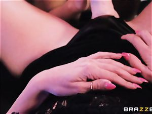 cougar Rachel Starr tongues out nubile babe Dillion Harper in a unwrap club