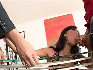 Asa Akira is picked up and romped three-way