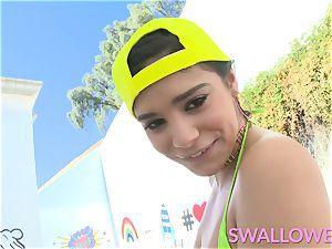 swallowed AJ, Keisha and Violet share and gag on dick