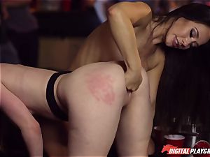 Red-headed mega-bitch Ella Hughes and fatal brown-haired Eva Lovia have fucky-fucky in a nightclub