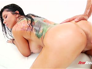 wild spunky mexican porno starlet Romi Rain gets her huge lubricated bumpers titfucked