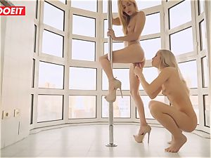 lezzy duo loves Afternoon super-steamy hump on the Balcony