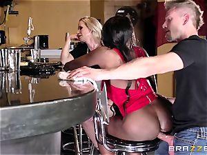 Mature womens Diamond Jackson & Simone Sonay get their massive booty ravaging on the bar