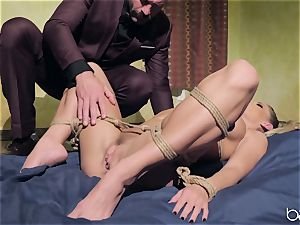light-haired gets strapped up and humped