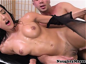 masseuse in fishnets caked in jism after massage