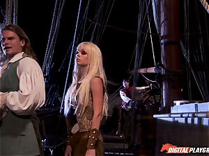 Pirate wedges his stiff meat sword into Devon and Teagan Presley