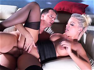 Britney Amber rides her huge booty on his sausage