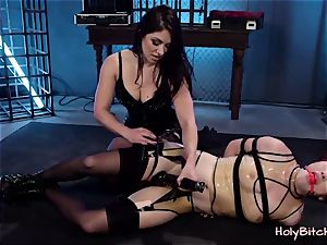 hotty gets strapped and treated with fucktoys