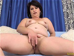 senior doll Jenna Jingles undresses down and fucks