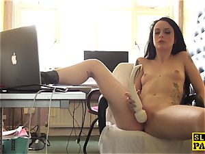 Clitrubbing uk mega-bitch frolicking with wand