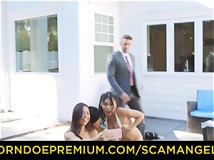 SCAM ANGELS - super hot Melissa Moore pulverized in mischievous 4some