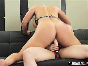 Alura Jenson muff packed with belt dick mighty muscular gal Brandi May