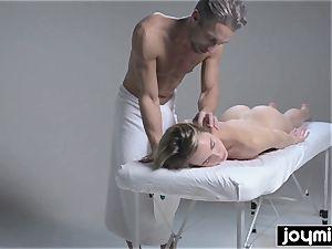 Joymii scorching platinum-blonde gets decorated in jism after her rubdown