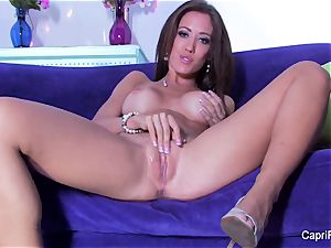 supah handsome Capri sticks her puss with a glass plaything
