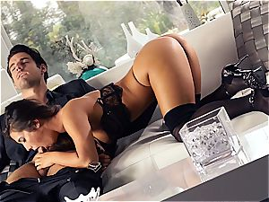 mind-blowing Eva Lovia is instructing her beau some manners before the party