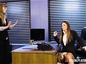 India Summers and Sunny Lane slit scissoring action in the office