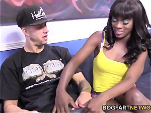 Ana Foxxx bangs A white boy In Front Of Her boyfriend