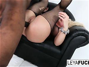molten humungous tittie platinum-blonde Leya gets her rump drilled