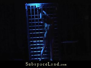 platinum-blonde in cage caboose spanked and bondage with hatch jizm