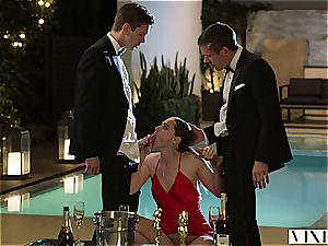 Glamourous film starlet Tori has after party 3 way with producer